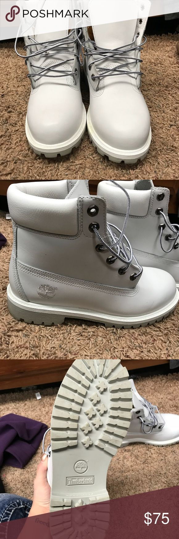 Timberlands Timberland boots light grey almost white. worn once by my sister, too small for me Timberland Shoes Combat & Moto Boots