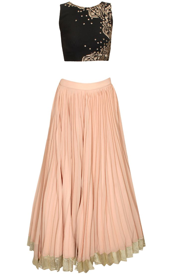 Black and peach gold thread embroidered lehenga set available only at Pernia's Pop-Up Shop.