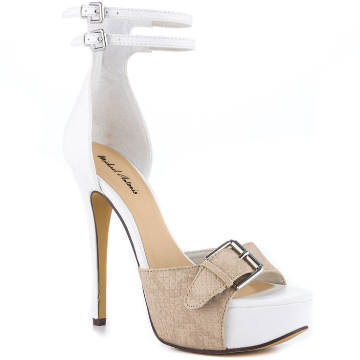 Tamaya White Pu Heels for Cheap by Michael Antonio – Step into this summer with elegance #shoes #heels #pumps