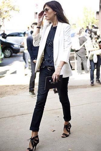 White Blazer, Black pants, shoes and shirt on Emanuelle Alt