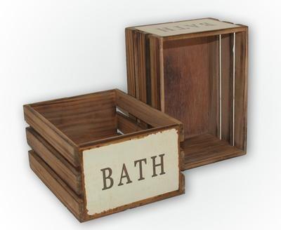 """Vacker låda med text """"Bath"""" #lantlig #badrum"""