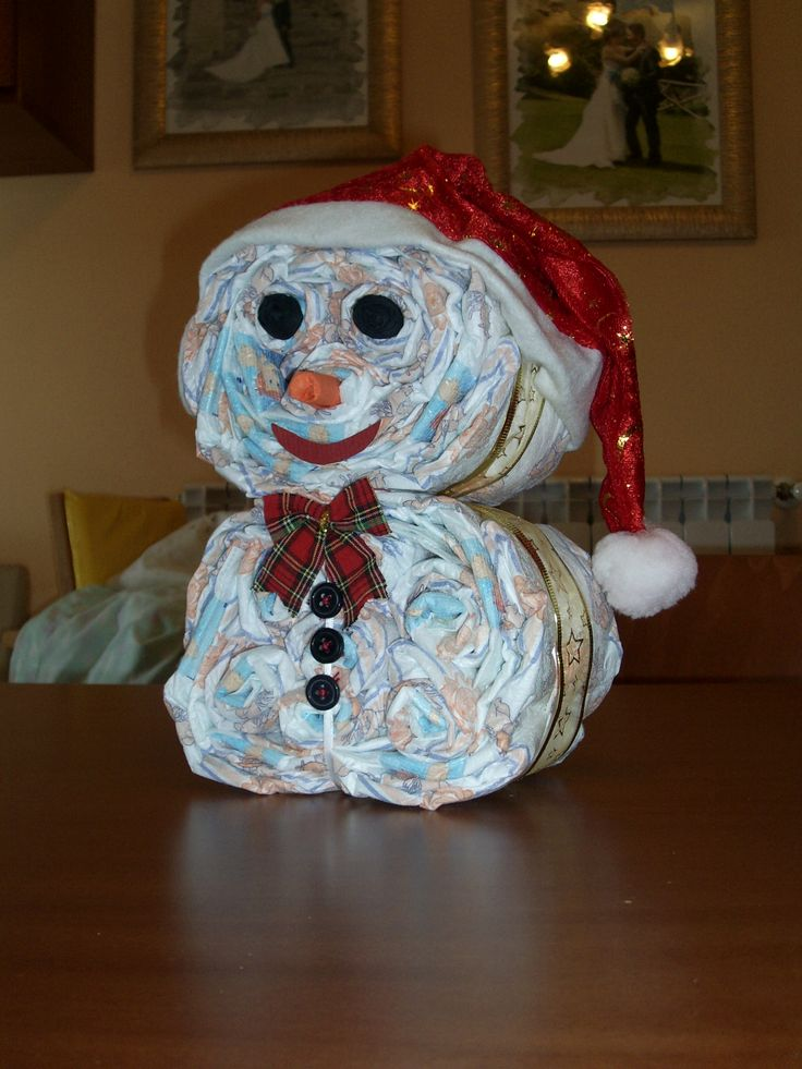 torta di pannolini _ pupazzo di neve