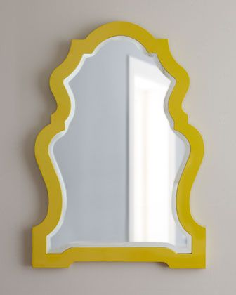 Yellow-Framed Mirror at Horchow. To place above writing desk if I ever need a place to also get ready for the day #Horchow
