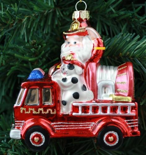 Ready Set Go Firefighter Santa Christmas Ornament