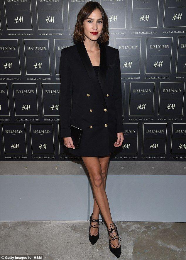 Alexa Chung in Balmain x H&M jacket - Balmain X H&M Collection Launch at 23 Wall Street in New York. (20 October 2015)