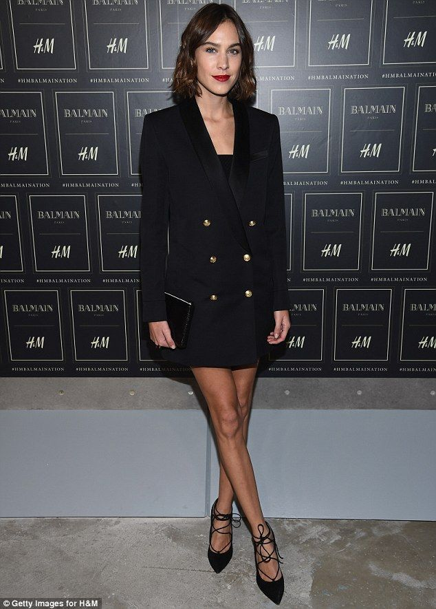 Alexa Chung in Balmain x H&M jacket - Balmain X H&M Collection Launch at 23 Wall Street in New York. (20 October 2015)