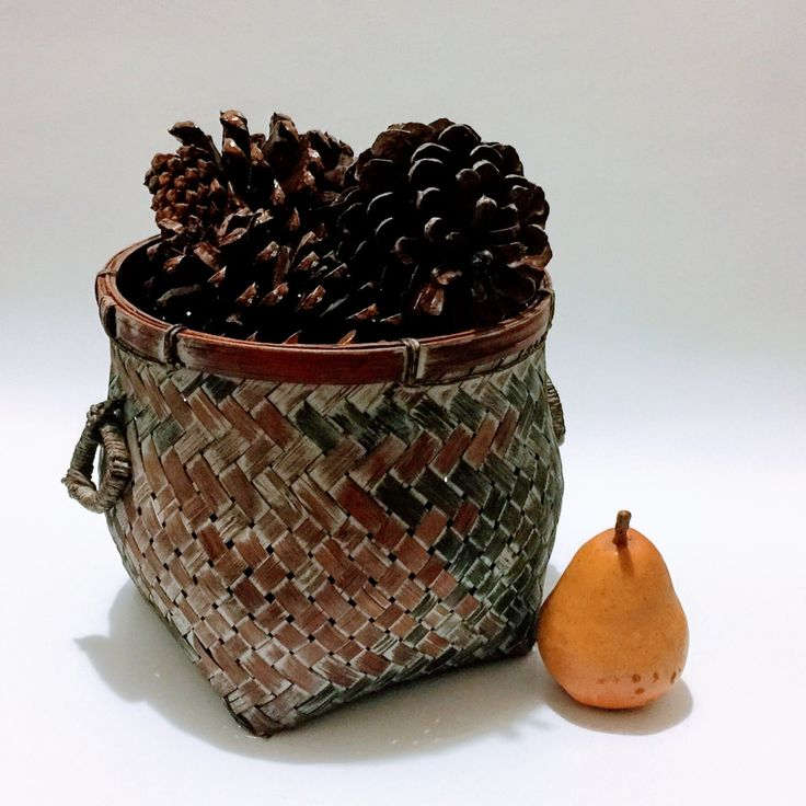 Woven Rustic Farm Basket, Storage Collectible Basket, Eart Tones Rust Basket with Handles, Rustic Country Carrying Basket, Waste Basket by WholeLotOfVintage on Etsy