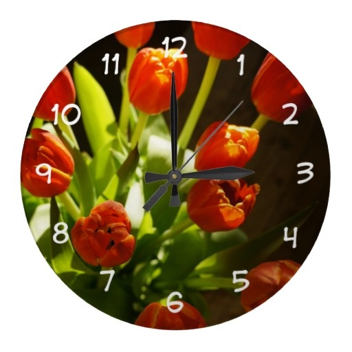 Stunning Tulips Floral Wall Decor Clock With Photograph Of Tulip Flowers  With Natural Light Passing Through