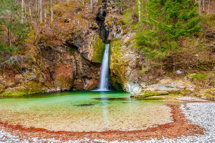 Wodospad, Skały, Drzewa, Roślinność
