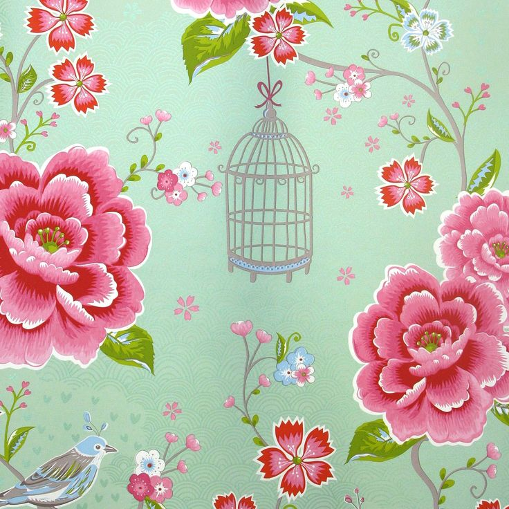 "Lovely mint colored wallpaper ""Birds in Paradise green"" bij Pip Studio----- mint walls, pink accessories?"