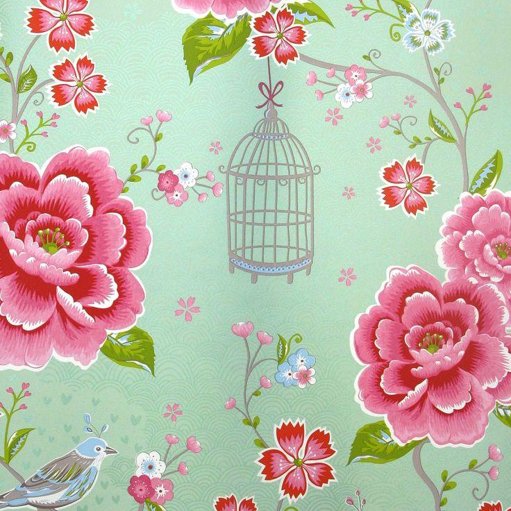 "Lovely mint colored wallpaper ""Birds in Paradise green"" bij Pip Studio"