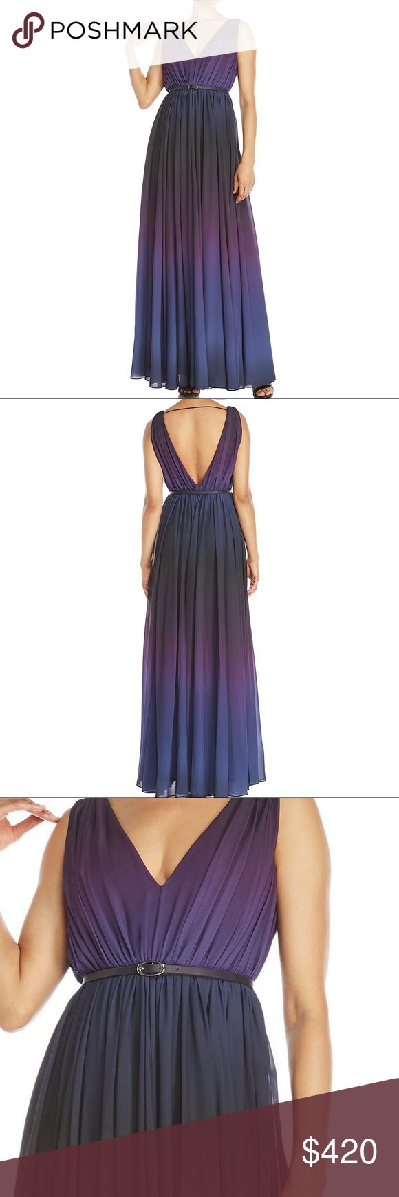Raoul Sarina Belted Gown V-neck and back, sleeveless, pleated woven construction Ombré effect, side zip closure, horizontal back strap, interior lining. Belt included. BRAND NEW WITH TAG! Photos will be available on the upcoming weekend 😘 Raoul Dresses Maxi