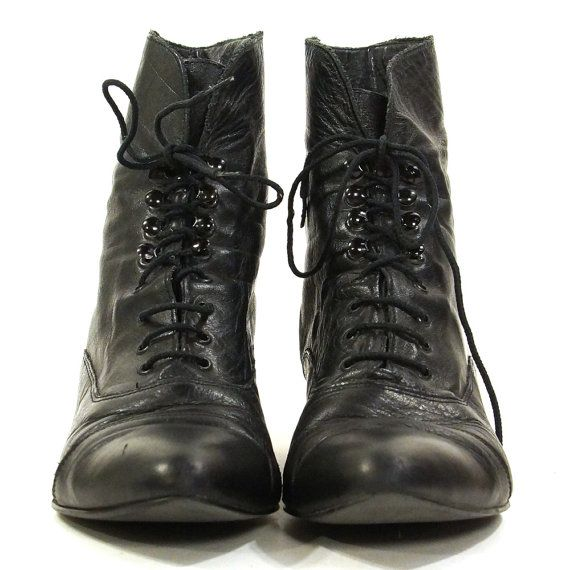 STRINGATE stivaletti / nero stivali di pelle di SpunkVintage