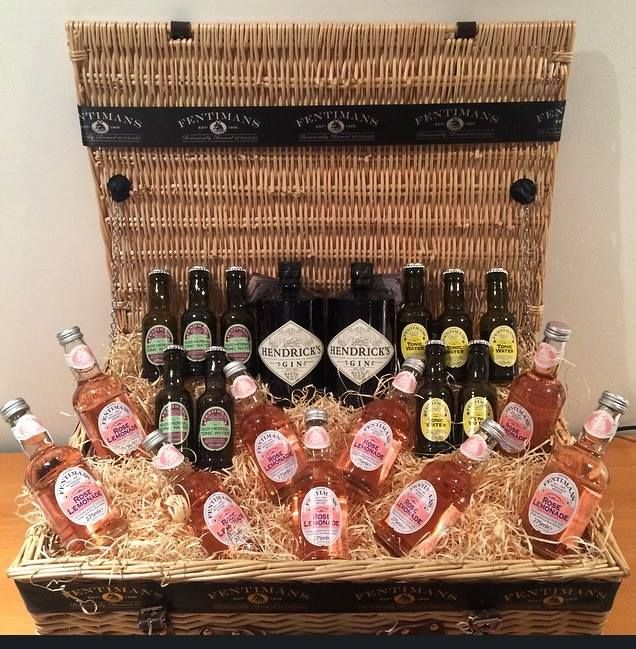 One of our competition hampers crammed with botanically brewed Fentimans rose lemonade and Hendricks gin