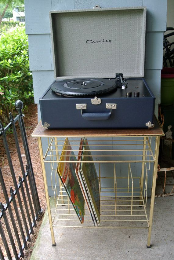 Vintage Mid Century Modern Gold With Wood Top Record