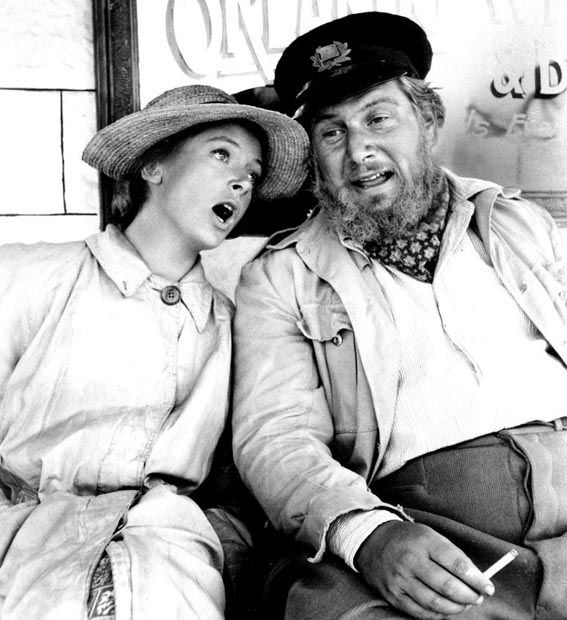 "Deborah Kerr and Peter Ustinov break into song during filming of ""The Sundowners"" in Australia"