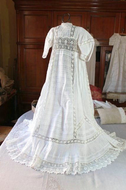 French Antique Christening Gown Handsewn by Vintagefrenchlinens