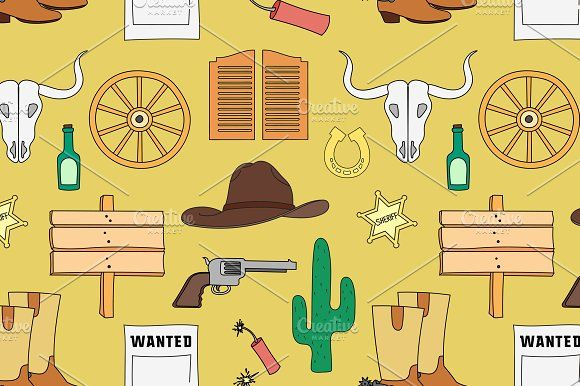 Doodle pattern wild West by Netkoff on @creativemarket