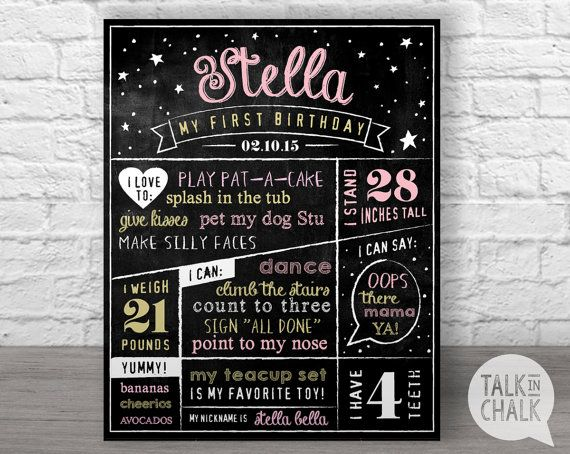 This listing is for a personalized first birthday chalkboard sign. (Digital file only) Your poster can be fully customized with your little one's