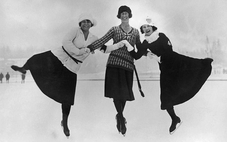 Figure skaters pose at the 1924 Winter Olympics in Chamonix, France. From left are Herma Planck-Szabo of Hungary, Ethel Muckelt of Britain and Beatrix Loughran of the U.S. (Topical Press Agency/Hulton Archive/Getty Images)