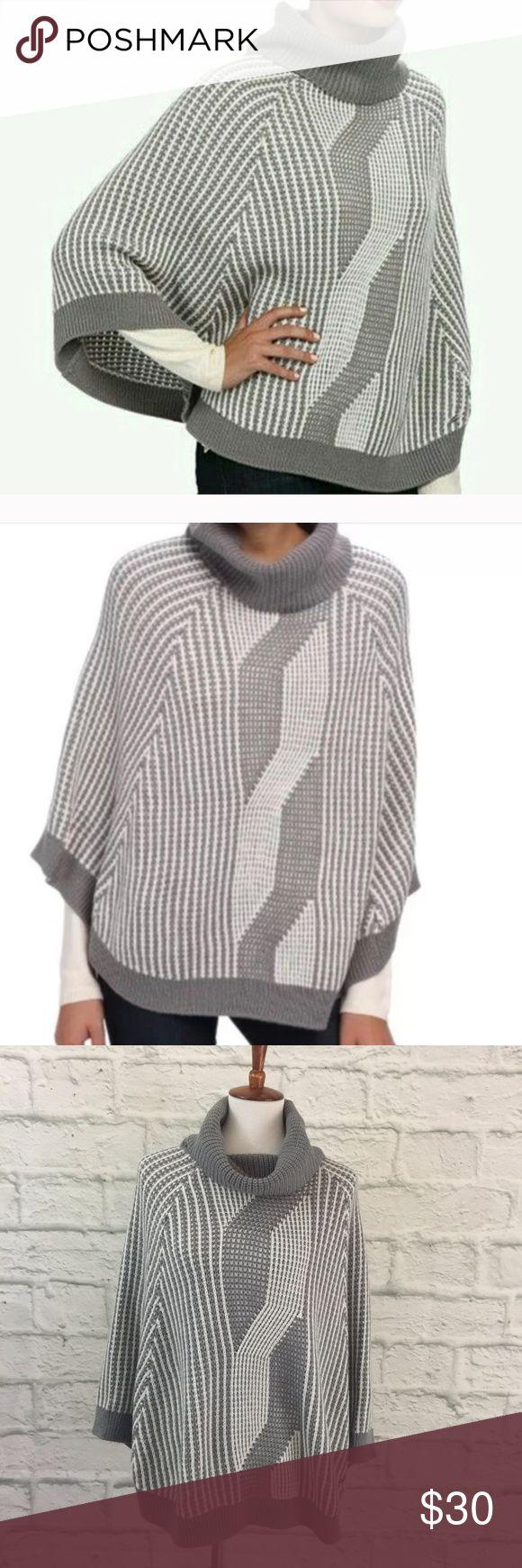 "Calvin Klein Poncho ▻ Calvin Klein Poncho ▻ Cozy knit striped cowl-neck poncho w/ geometric design ▻ Approximately 24"" shoulder to bottom hem ▻ 100% acrylic ▻ Machine wash, dry flat ▻ EUC Calvin Klein Sweaters Shrugs & Ponchos"