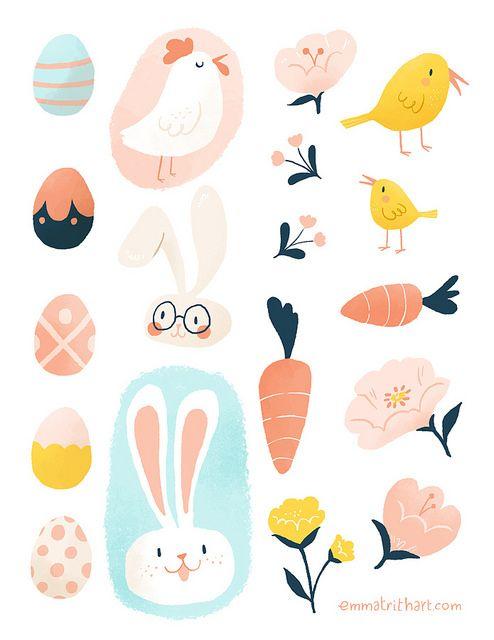 Imprimible de pegatinas inspiradas en #Pascua #Easter >>  Easter Stickers by emma trithart, via Flickr