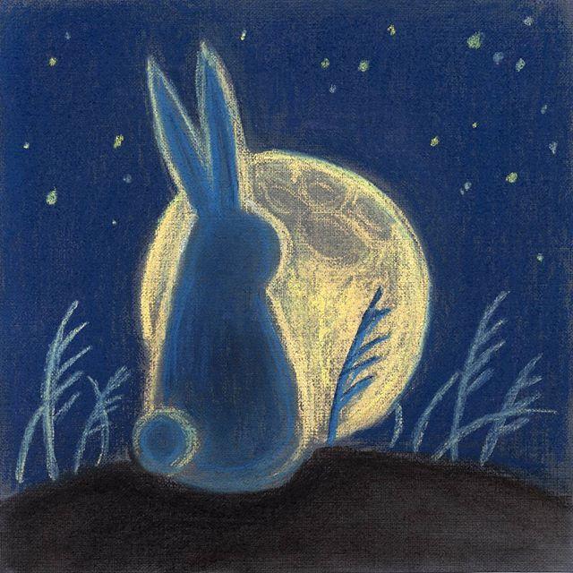 #лунныйкролик  #moonrabbit  #rabbit #кролик #луна #moon  #moon_viewing #otsukimi #お月見  #うさぎ#пастель  #pastel #арт #art #inesskadanayaillustration