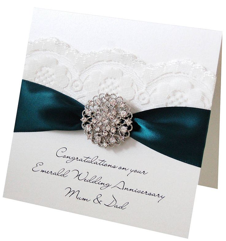 Opulence Emerald Wedding Anniversary Card. For 55th Wedding Anniversaries. Can be personalised too