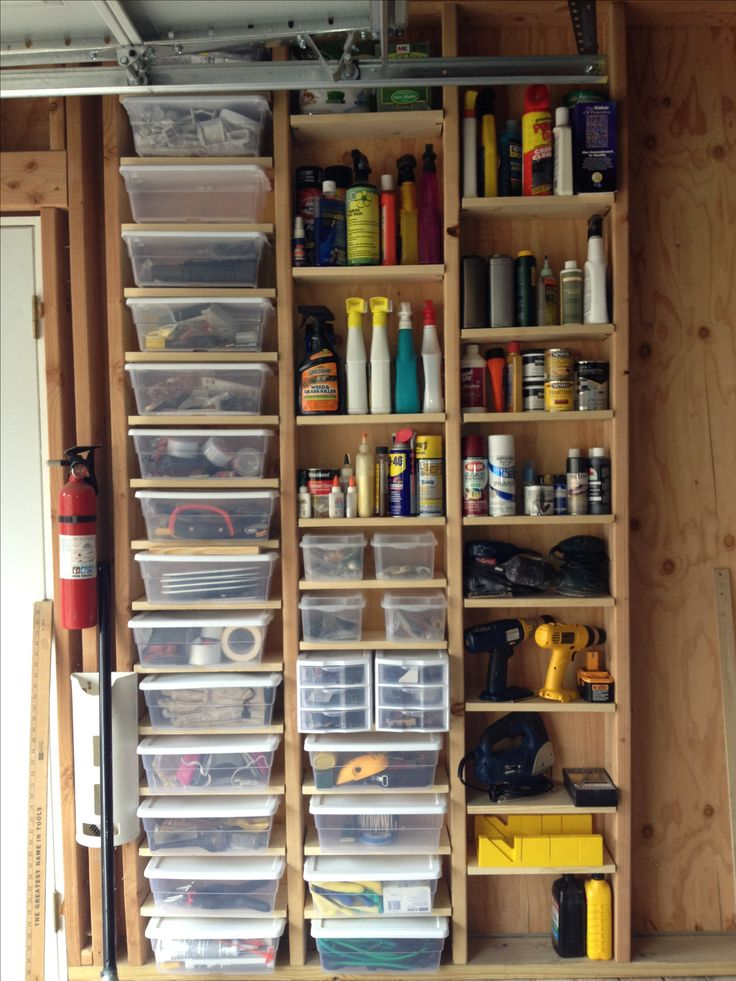 Garage storage, using adjustable shelving in space between the studs.