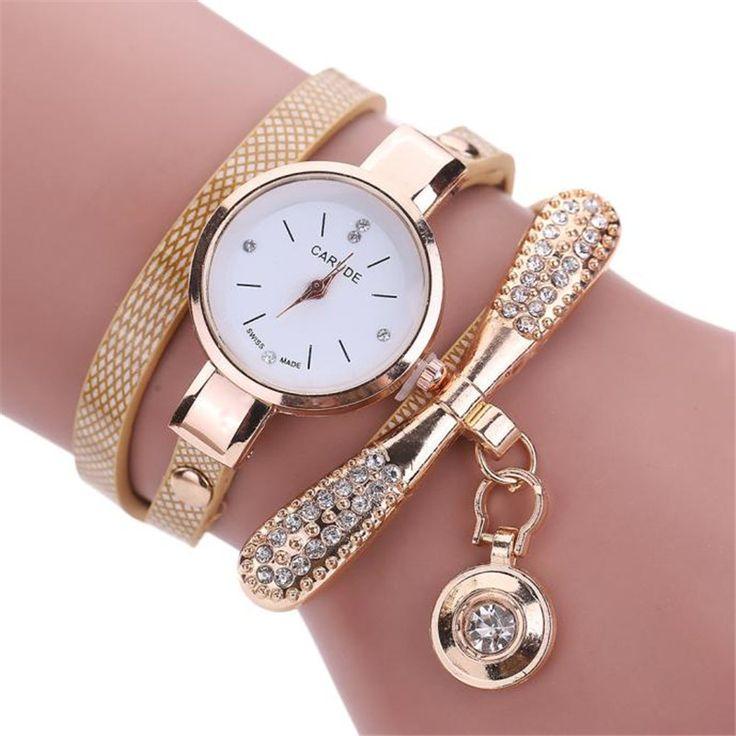 Модные женские Часы Браслет Леди Искусственной Кожи Rhinestone Аналоговые Кварцевые Платье Наручные Часы Relogios Feminino #men, #hats, #watches, #belts, #fashion