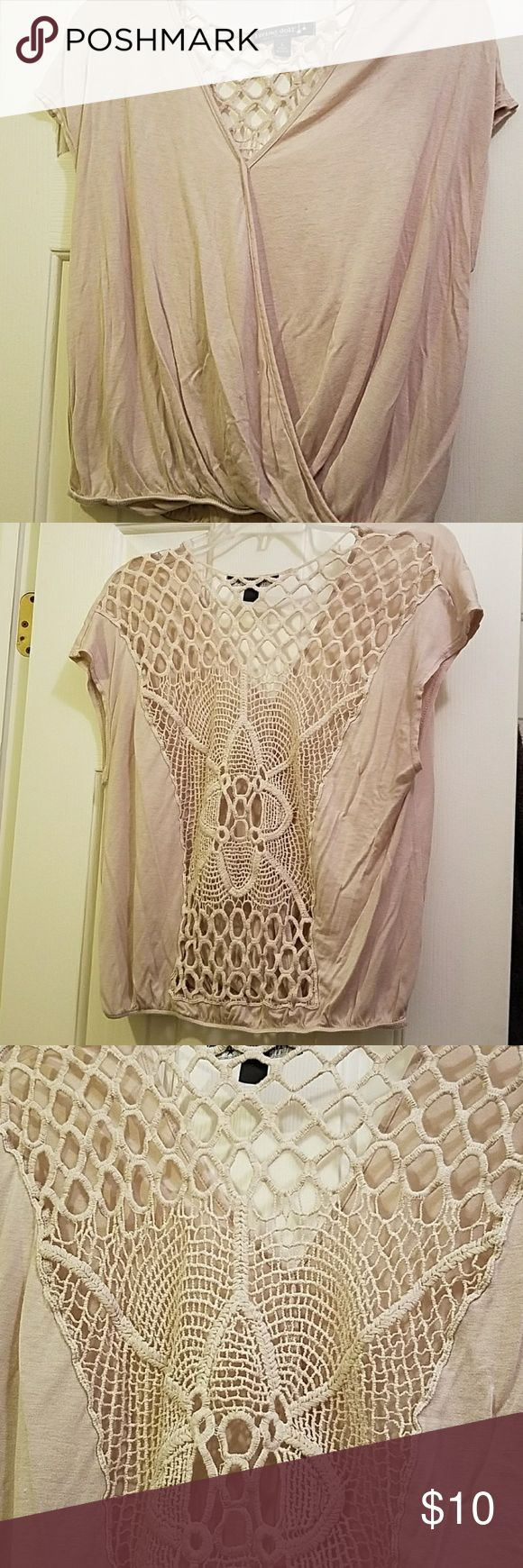 Beige short sleeve top Very cute beige top with design see through back. Sits right at waist and has open front. living doll Tops Blouses