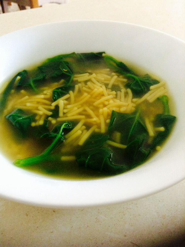 Spinach noodle soup