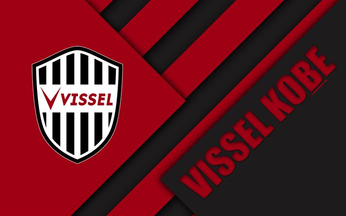 Download wallpapers Vissel Kobe FC, 4k, material design, Japanese football club, black and red abstraction, logo, Kobe, Hyogo, Japan, J1 League, Japan Professional Football League, J-League