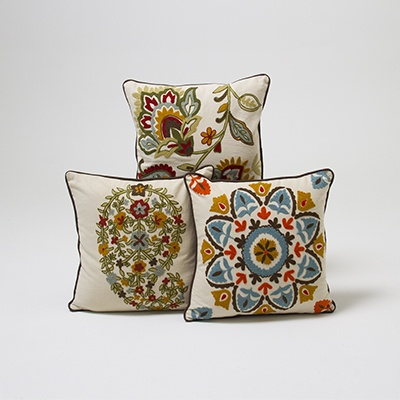 Embroidered Cushion Cover    List $21.99   SKU 116842 Stem Design   16 inches wide x 16 inches long      List $21.99   SKU 116840 Paisley Design   16 inches wide x 16 inches long      List $21.99   SKU 116841 Floral Design   16 inches wide x 16 inches long