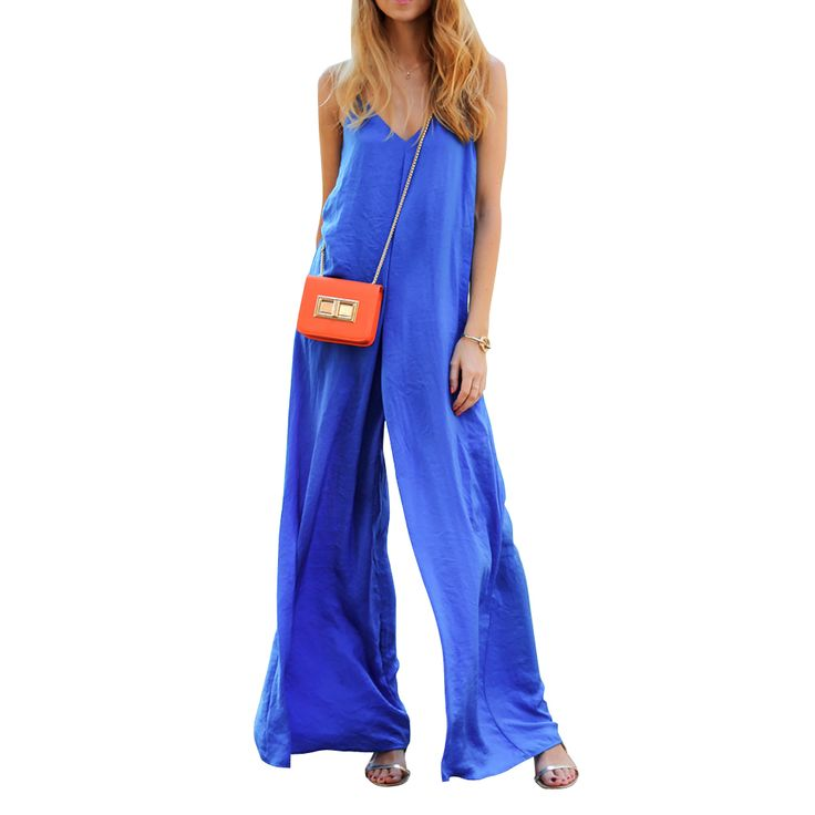 Preself vrouwen mouwloze brede been jumpsuit losse sexy v-hals lange playsuit celeb fashion zomer casual plus size geen pakket