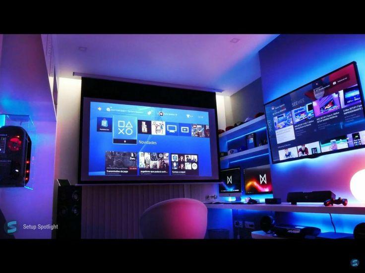gamer zimmer arbeitszimmer pc gaming setup computer schreibtisch computerspielraum ba 1 4 roeinrichtung ro ideen manner dekor gestalten