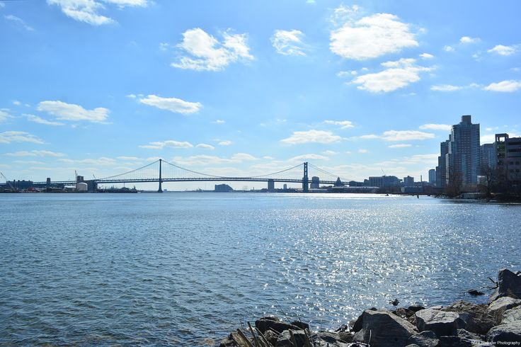 Ben Franklin Bridge is in the background. Shot taken from Penn Treaty Park in Fishtown.