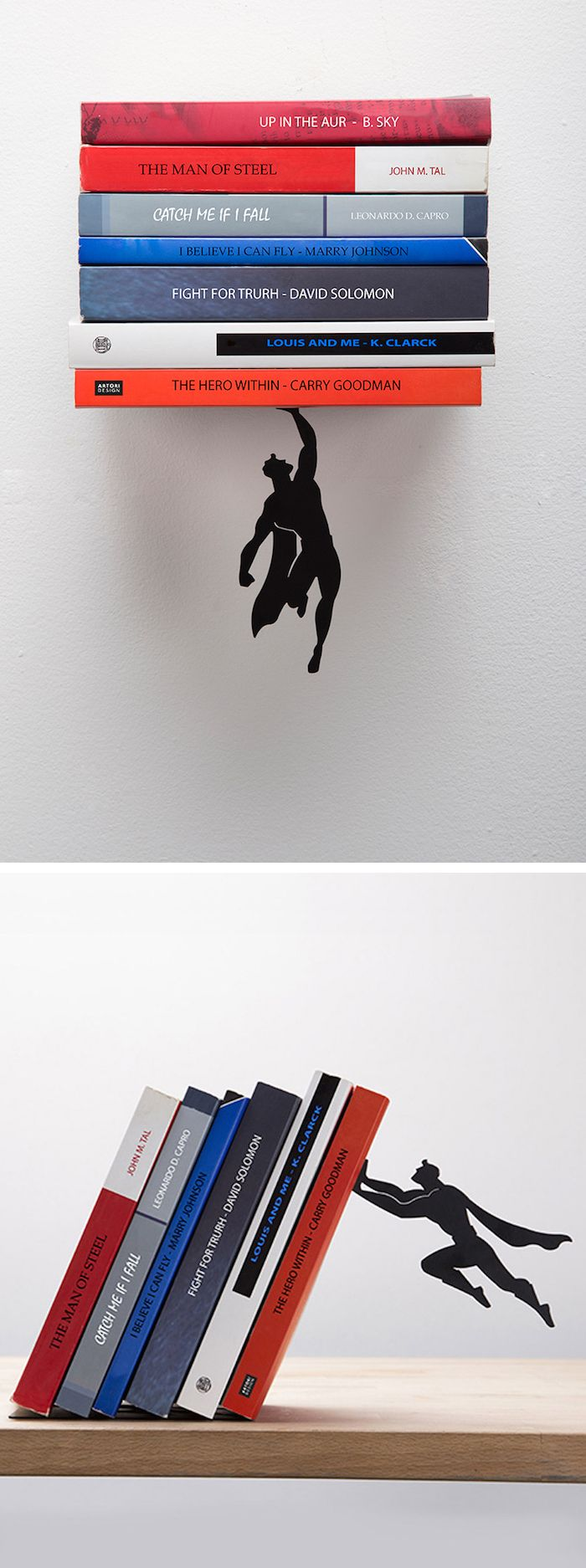 Superhero bookends   modern design   superhero furniture   superhero decor   superman bookends