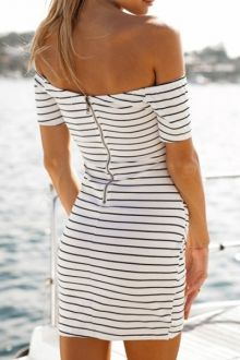 Package Buttocks Stripe Short Sleeve Off Shoulder Dress For Women