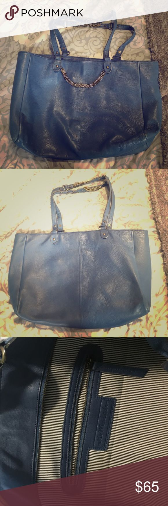 Light blue leather handbag Petite Mendigote Used leather light blue petite mendigote (famous French brand). The chain on the handles is loose but can easily be stitched back. Size is 15x11 appr. It can fit a laptop easily! petite mendigote Bags Shoulder Bags