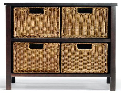 storage furniture with baskets | Functional & Stylish Storage Chest with 4 Wicker Baskets by Mission ...