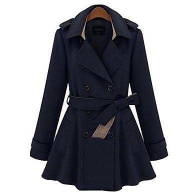 collo con revers sottile doppio petto cappotto di trincea delle donne - EUR € 44.86