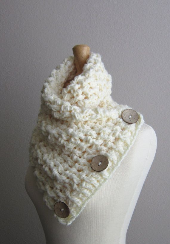 Crochet Button Scarf - Winter White - Cream White with light coconut buttons on Etsy, $65.00