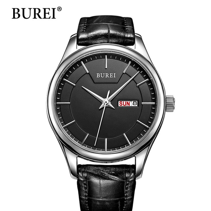 BUREI Men Watches Luxury Top Brand Quartz Wristwatch Large Dial Day And Date Waterproof Casual Male Watches Leather strap
