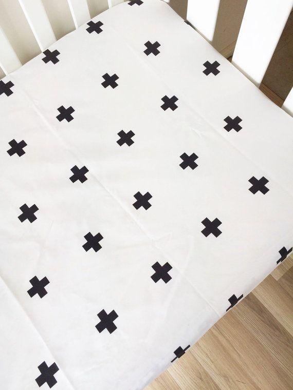 Swiss cross  black cross  modern Fitted Cot by BooLittleLinens