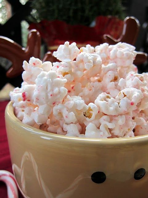 Peppermint popcorn. Another pinner says: This stuff is like crack. I gave it as neighbor gifts and a few people even asked for more! Click on the photo for the easy recipe.