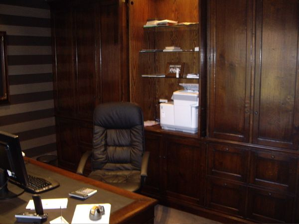 Custom Built Home Office - French oak/ Leather/ Glass  - French Polish Finish
