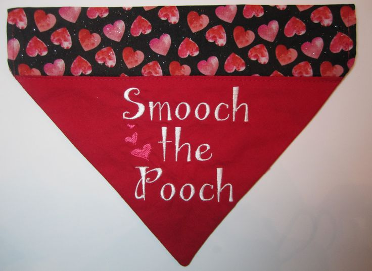 Valentines Day Dog Bandana/Embroidered Bandana/Dog Bandana/Personalized Dog Bandana/Hearts Bandana/Valentine Puppy/Valentine Dog/New Puppy by ChipmunkCheeksSewing on Etsy