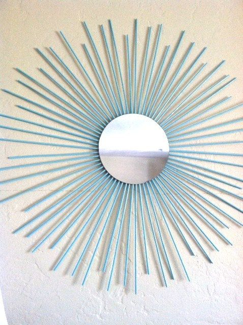 Sunburst Wall Mirror Art Contemporary Modern Decor Wooden Tiffany Blue Turquoise  LARGE