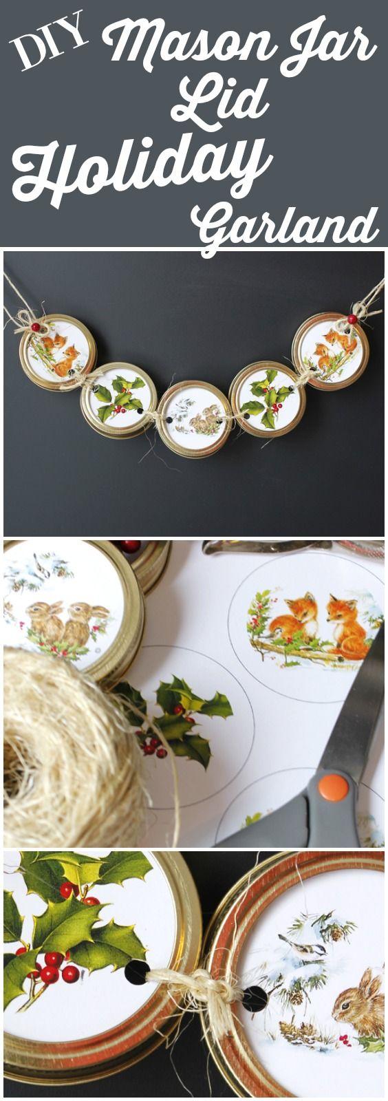 DIY Mason Jar Lid Holiday Garland - The Graphics Fairy
